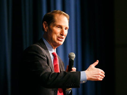 US Senator Ron Wyden responds to a question at town hall at Stayton High School on Friday, Sept. 22, 2017.