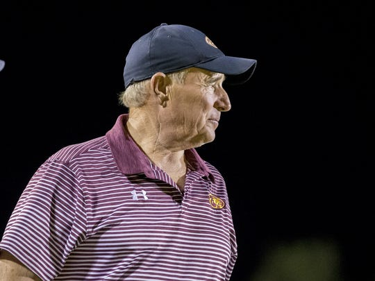 Then-Mountain Pointe head coach Norris Vaughan during the second half of a high school football game between Pinnacle and Mountain Pointe at Mountain Pointe High School on Friday, September 22, 2017 in Phoenix, Arizona.