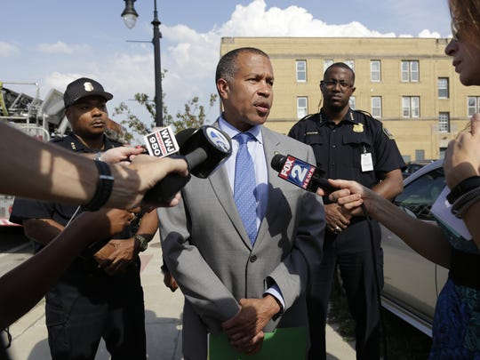 Detroit Police Chief James Craig talks to the press in southwest Detroit on Monday, September 25, 2017.