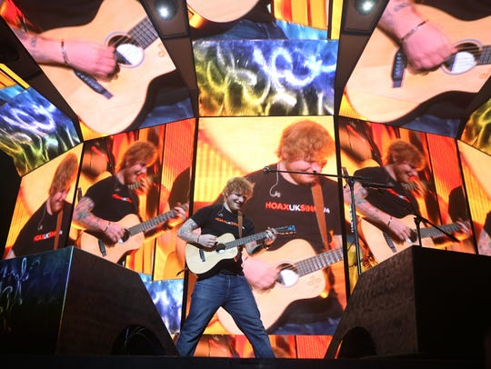 "Ed Sheeran opens with a ""Castle on the Hill"" during"