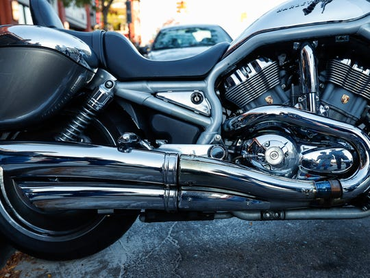 A 2003 Harley-Davidson V-Rod has a Porsche designed engine is seen during a gathering, Thursday, September 28, 2017 in downtown Royal Oak. The bike is owned by Branko Jovanov of Troy.