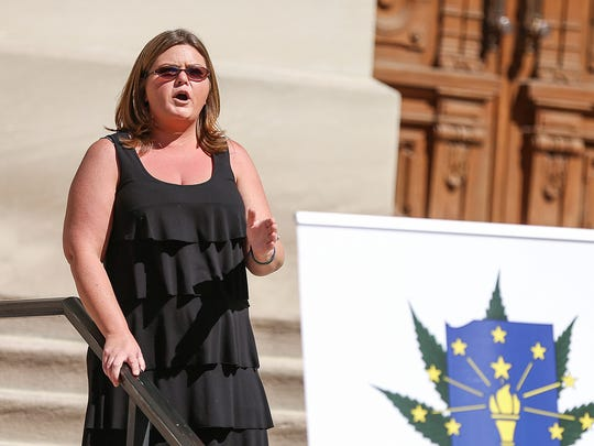 Bobbie Young, the founder of IndyCann and the Higher Fellowship, speaks during a rally outside the Indiana Statehouse to advocate medical cannabis law reform, Indianapolis, Saturday, Sept. 30, 2017.