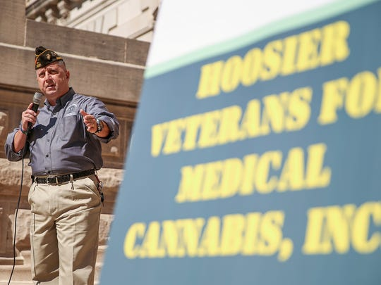 Jeff Staker, organizer of Hoosier Veterans for Medical Cannabis, speaks during a rally outside the Indiana Statehouse held by IndyCann and the Higher Fellowship to advocate medical cannabis law reform, Indianapolis, Saturday, Sept. 30, 2017.