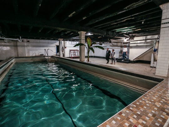 The indoor pool that was dugout in the basement in the 1920s at the Schvitz bathhouse in Detroit, undergoing renovations under new ownership, Sunday, Oct. 1, 2017.