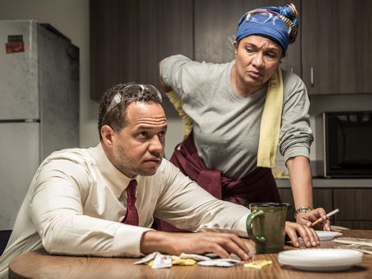 "Brian Marable and Ella Joyce in ""Skeleton Crew"" at Detroit Public Theatre."
