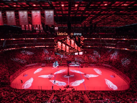 Stanley Cup banners hang from the ceiling at Little Caesars Arena before the Detroit Red Wings home opener against the Minnesota Wild in Detroit, Thursday, Oct. 5, 2017.