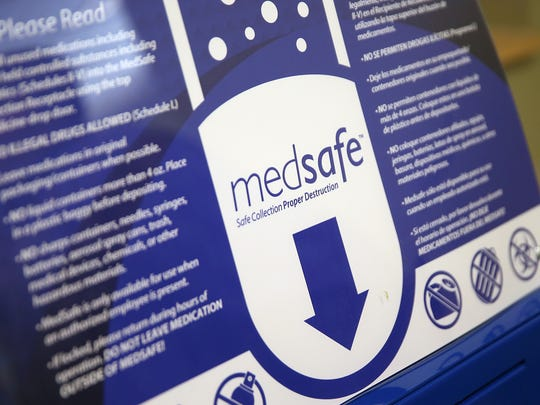 Eskenazi's MedSafe drop boxes provide a safe, environmentally-friendly means of disposal for unused drugs, including prescription opioids, which could present hazards if left around the home. A drug disposal drop box is seen at Eskenazi Health Center Westside, Indianapolis, Friday, Sept. 29, 2017.