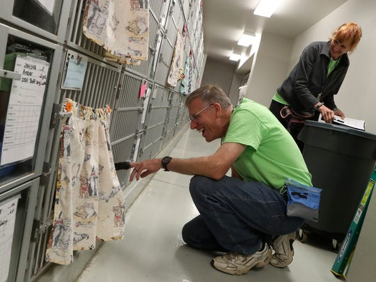 Haven Humane volunteers Martin Barackman, left, and his wife Kathy Kaysen check on the cats Monday in the adoption center. Haven Humane is adding an additional building