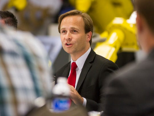 Michigan Lt. Gov. Brian Calley attends a Q&A at Triton