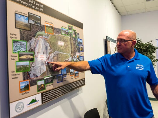 County Board Chairman Jeff Bohm points to a poster hanging in a conference room at Smiths Creek Landfill to talk about its layout on Thursday, Oct. 12.