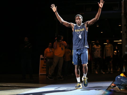 Indiana Pacers guard Victor Oladipo (4) takes the court