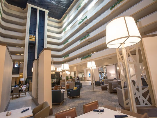 The renovated lounge area of the Hilton Fort Collins has a more modern look.