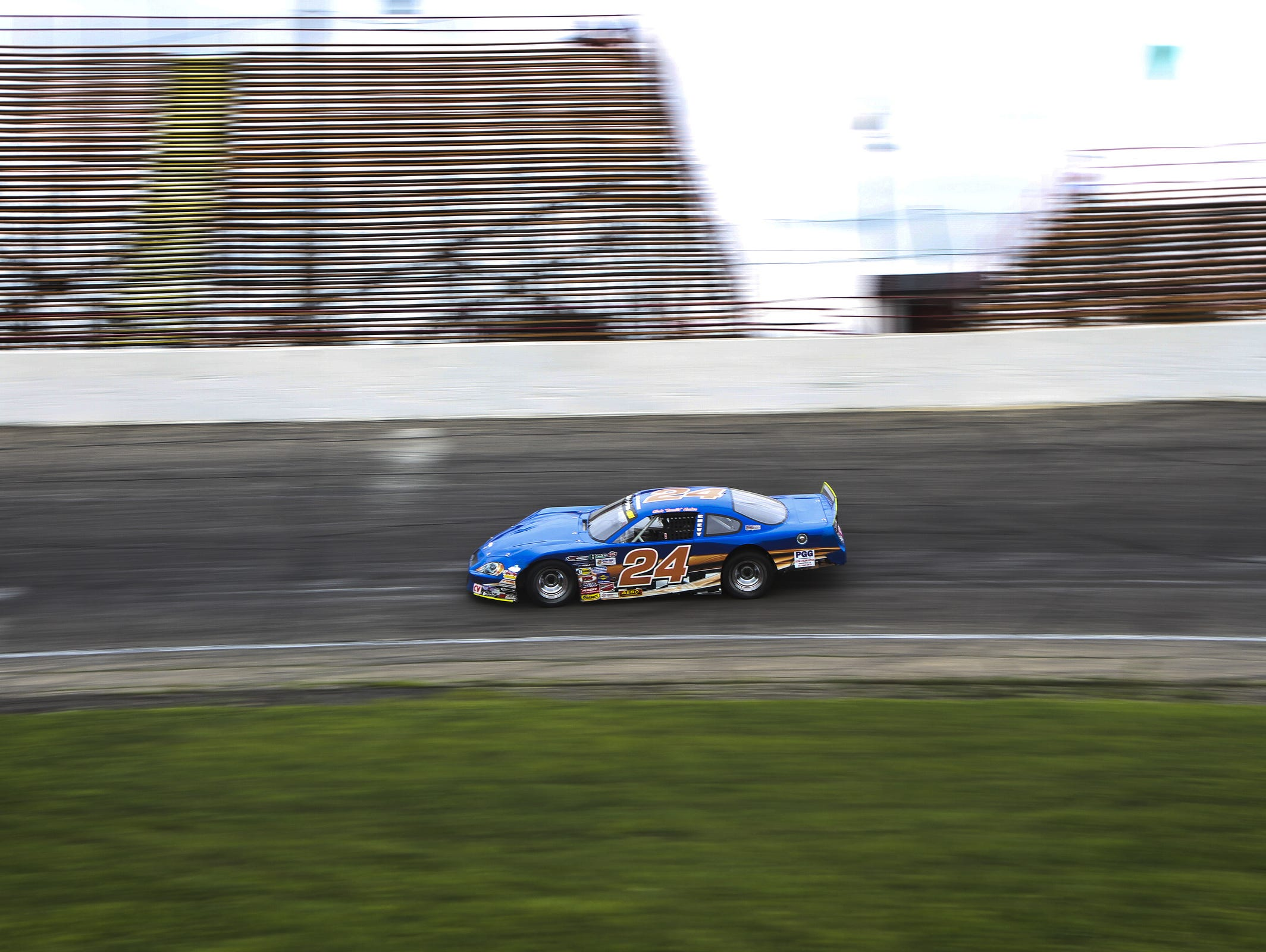 A car takes a practice run at Anderson Speedway in Anderson, Ind.