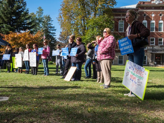 Protestors gathered outside the Sanilac Couty Courthouse