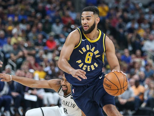 Indiana Pacers guard Cory Joseph (6) drives the ball