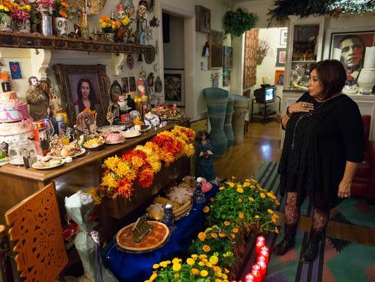 Jacqueline Rosier looks over the Dia de los Muertos