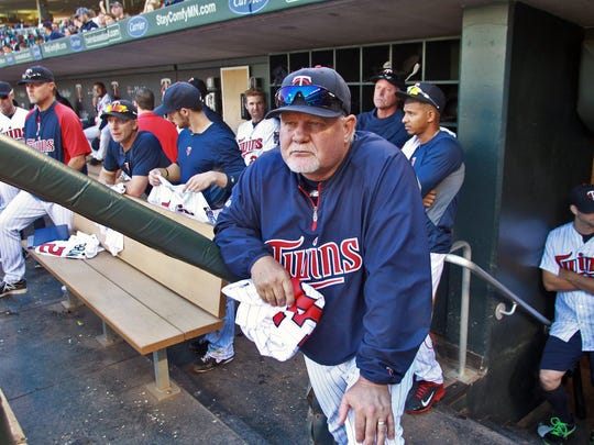 Minnesota Twins manager Ron Gardenhire watches his last game from the dugout as the Twins face the Cleveland Indians at Target Field in Minneapolis, Min.. on Sunday, Sept. 29, 2013. T