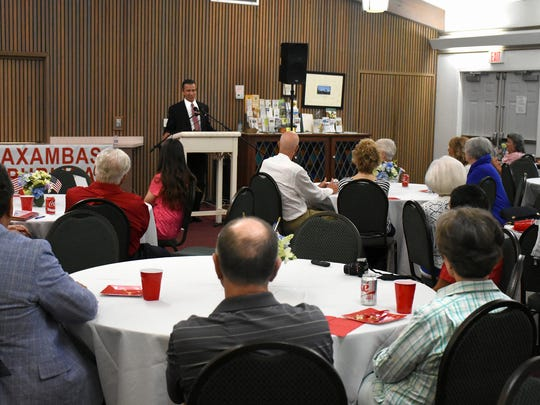 State Representative Bob Rommel addresses the group. Rommel spoke to the Caxambas Republican Club Tuesday evening during their meeting at the United Church of Marco.