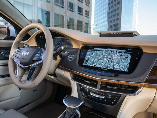 The navigation screen of the 2016 Cadillac CT6. Sometime