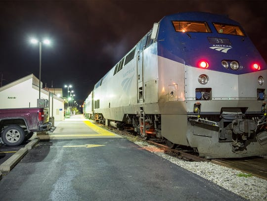 The Blue Water 365 Amtrak train sits outside of the