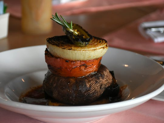 A charred veggie stack is one of the restaurant's heart-healthy food choices.