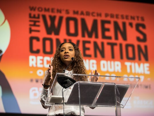 Tamika Mallory speaks during The Women's Convention at Cobo Center in downtown Detroit, Friday, October 27, 2017.