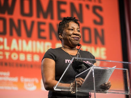 Tarana Burke speaks during The Women's Convention at