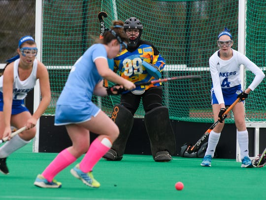 Colchester goalie Ciera Morse (99) keeps an eye on the ball during the girls semi final field hockey game between the Colchester Lakers and the South Burlington Wolves at Moulton Winder field at UVM on Tuesday afternoon October 31, 2017 in Burlington.