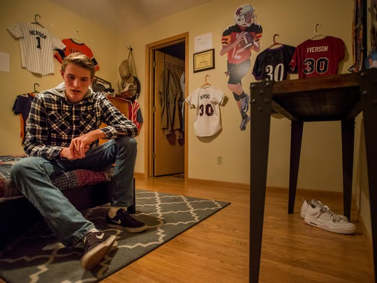 Fort Collins High School sophomore quarterback Hayden Iverson talks about his football career, Wednesday, Nov. 1, 2017 at his home in Fort Collins, Colo.