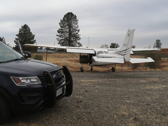 Redding Police and Fire investigate a plane that went