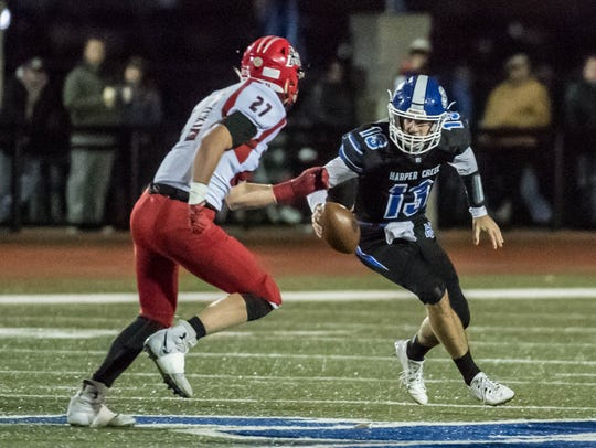 With Jackson Malone as quarterback, Harper Creek is going to its fifth state semifinal game and will face Muskegon on Saturday.