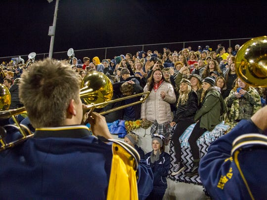 The Port Huron Northern marching band trombone line