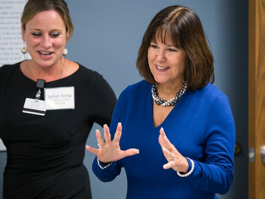 Second Lady Karen Pence greets art therapy patients during her visit to the IU Health Neuroscience Center, Indianapolis, Thursday, Nov. 9, 2017. While Mike Pence spoke in Plainfield about the GOP's tax plan, Karen learned about the art therapy program run by a collaboration of Herron School of Art and Design and the Department of Neurology at IU School of Medicine.