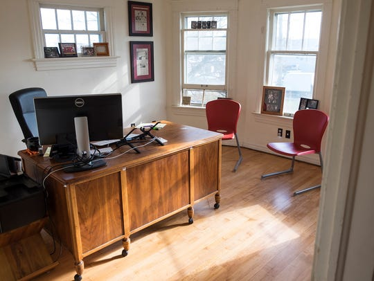 One of the completed offices inside of The Roost, a