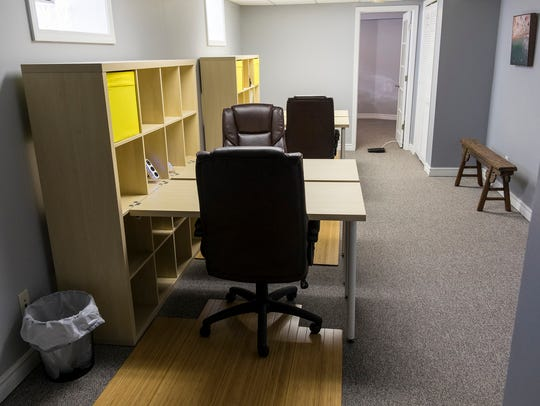 Rentable workspaces in the basement of The Roost, a