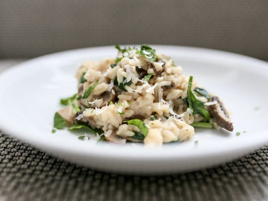 Mushroom Spinach Risotto made with the Instant Pot