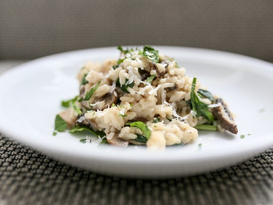 Mushroom Spinach Risotto made with the Instant Pot at the Detroit Free Press in Detroit on Wednesday, Nov. 22, 2017.