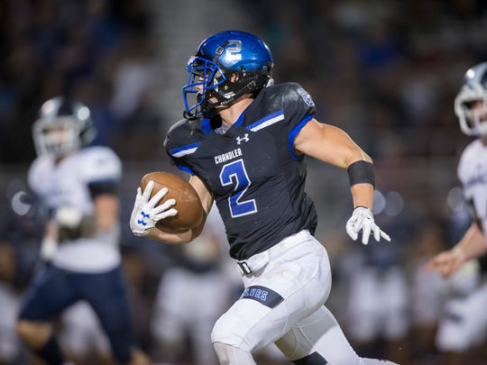 Running back Drake Anderson of the Chandler Wolves.