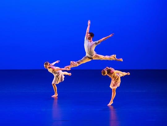 Dancer Andrew Cribbett (leaping), in an October 2016