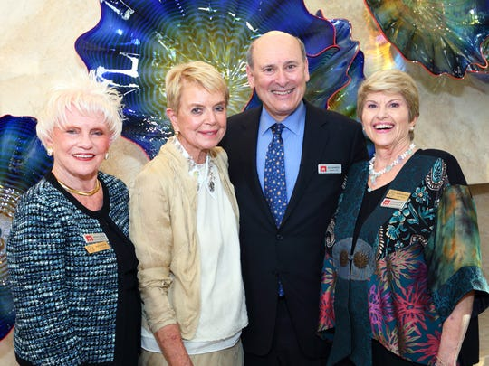 (L-R) Muses & Patroness Circle president Mary Latta, host Donna MacMillan, McCallum Theatre president and CEO Mitch Gershenfeld, and Muses membership chair Barbara Klein