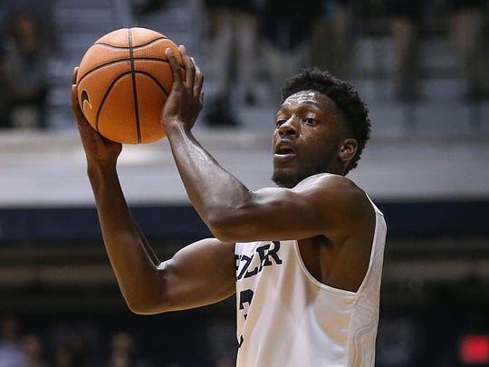 Butler Bulldogs guard Kamar Baldwin (3) passes during second half action between the Butler Bulldogs and the Princeton Tigers at Hinkle Fieldhouse, Indianapolis, Sunday, Nov. 12, 2017. Butler lead at halftime, 41-31. Butler defeated Princeton, 85-75.