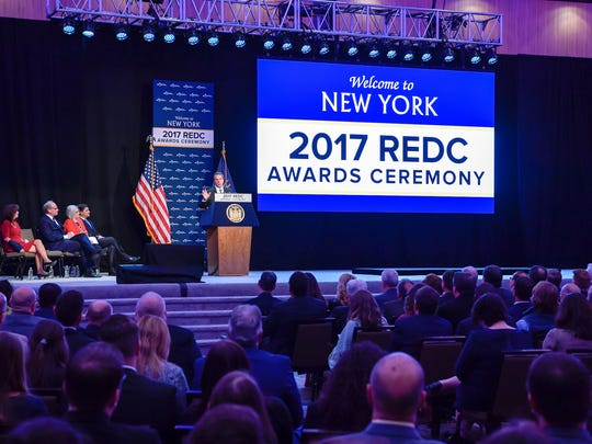 Gov. Andrew Cuomo announces the 2017 Regional Economic Development Council awards in Albany on Wednesday.