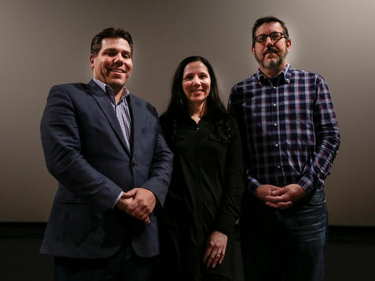 Anthony LaVerde, left, new CEO of Emagine Entertainment, with Melissa Boudreau, vice president of sales and marketing, and David Zylstra, vice president of technology.