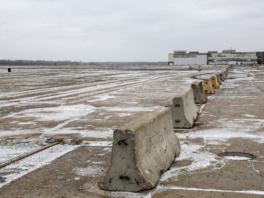 Land on the former floor of the 335-acre Willow Run site in Ypsilanti Township at the American Center for Mobility is seen on January 2017 that will be used for testing autonomous vehicles.