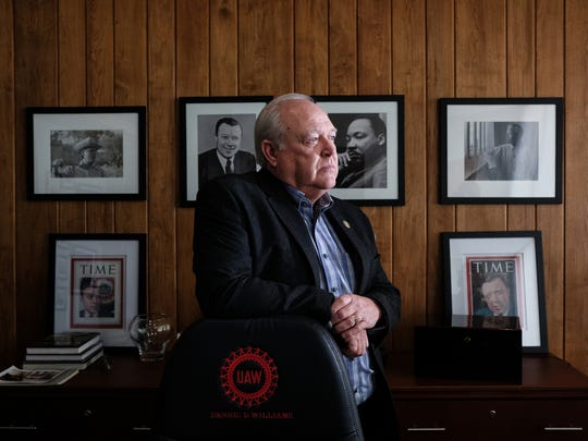 UAW President Dennis Williams in his office at the UAW Solidarity House in Detroit on Tuesday, December 19, 2017. Williams will leave his post in 2018.