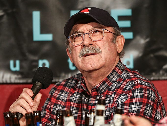 "Bob Kevoian, from ""the Bob & Tom Show,"" looks out to"