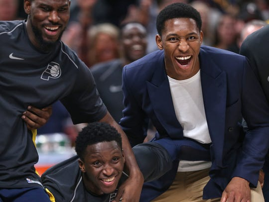 From left, Indiana Pacers forward Alex Poythress (0),