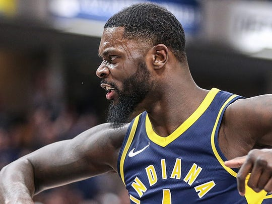 Pacers guard Lance Stephenson (1) reacts to the referee's foul call during fourth quarter Saturday against Brooklyn.