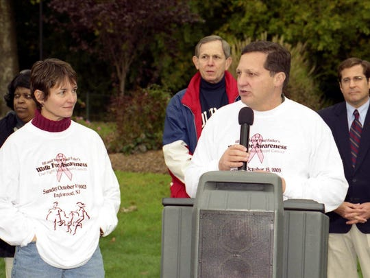 The Mayor of Englewood; Paul Fader; speaks at the Walk for Awareness; a fight against breast cancer on Sunday; the 19th of October at McCay Park.  His wife Jil (L)l; a survivor and founder looks on.  Also picutured is Congressman Steve Rothman (R); Dan Kane; Pres. of the Englewood Hospital and Medical Center; and Nancy Robinson. Photo by Monique Lisa Lionetti 10/19/03 fader1022_SU