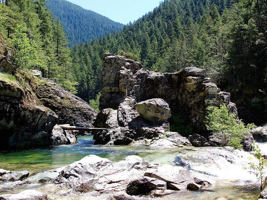 Water flows on the lower pools of Three Pools Recreation Site on the Little Santiam River in May.